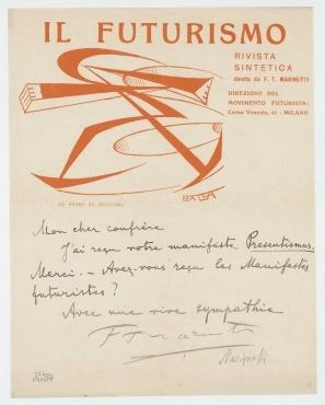 """Brief von Filippo Marinetti an Raoul Hausmann. Mailand. Briefkopf: """"IL FUTURISMO / RIVISTA SINTETICA [...]"""" und Briefumschlag."""