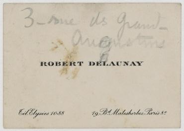 Visitenkarte von Robert Delaunay. Paris