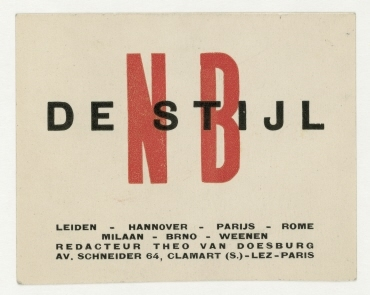 """Visitenkarte von Theo van Doesburg mit """"NB DE STIJL""""-Signet"""