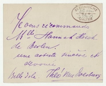 """Visitenkarte von Theo van Doesburg mit """"NB DE STIJL""""-Signet und handschriftlicher Widmung. [Belle Île]"""