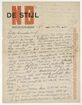 """Brief von Theo van Doesburg an Hannah Höch. [Clamart]. Briefkopf: """"NB DE STIJL [...]"""""""