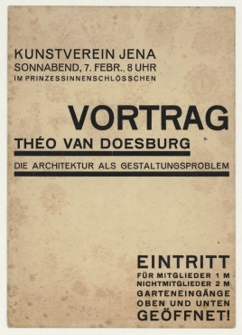 Vortrag: Theo van Doesburg: Die Architektur als Gestaltungsproblem. Jena