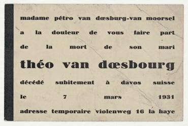 Todesanzeige von Theo van Doesburg. Davos