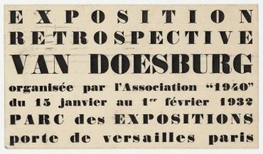 "Einladungskarte, Exposition rétrospective van Doesburg organisée par l'Association ""1940"" du 15 janvier au 1er février 1932. Paris. handschriftlich adressiert an Hannah Höch, ohne Absender"