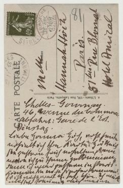 Postkarte von Otto Freundlich an Hannah Höch. Chelles (Seine-et-Marne)