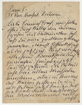 Brief von Otto Freundlich an Hannah Höch. Paris