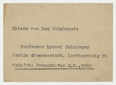 Visitenkarte der Galerie Ferdinand Möller mit Notiz auf der Rückseite, Adresse von Lyonel Feininger