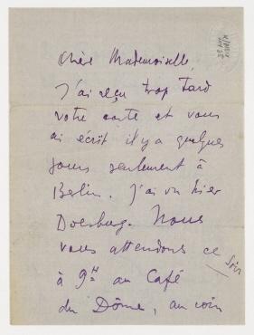 Brief von Tristan Tzara an Hannah Höch. Paris