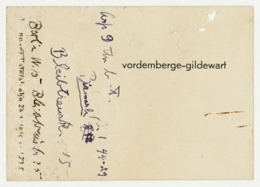Visitenkarte von Friedrich Vordemberge-Gildewart mit handschriftlicher Notiz