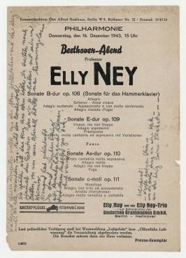 """Beethoven-Abend. Berlin. Ankündigung und Programm des Beethoven-Abends von """"Professor Elly Ney"""" in der Berliner Philharmonie, 16. Dezember 1943, 15 Uhr"""