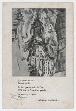 Sturm-Postkarte (Erster deutscher Herbstsalon) von [Ernst] Neumann an Raoul Hausmann. Abbildung nach einem Gemälde von Robert Delaunay: La Tour / Paris 1911 und dem Gedicht von guillaume apollinaire: Au nord au sud...