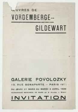 Œuvres de Vordemberge-Gildewart. Paris. Einladung zur Ausstellung der Werke von Friedrich Vordemberge-Gildewart in der Galerie Povolozky, 21. März bis 2. April 1929