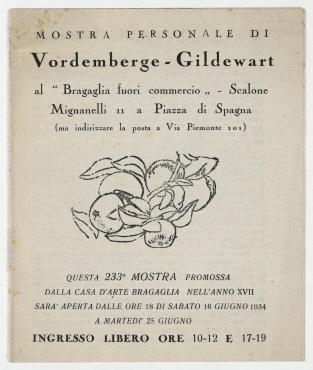 """Mostra personale di Vordemberge-Gildewart al """"Bragaglia fuori commercio"""". Rom. Begleitheft zur Einzelausstellung von Vordemberge-Gildewart. Rom, 16. bis 25. Juni 1934."""