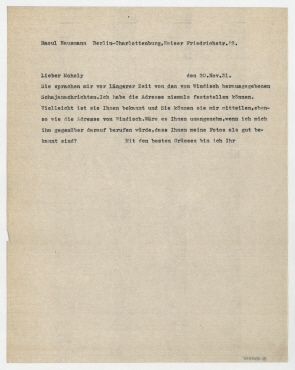 Brief von Raoul Hausmann an László Moholy-Nagy. Berlin