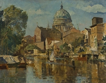 Potsdamer Nikolaikirche, vom Blickpunkt der Alten Fahrt