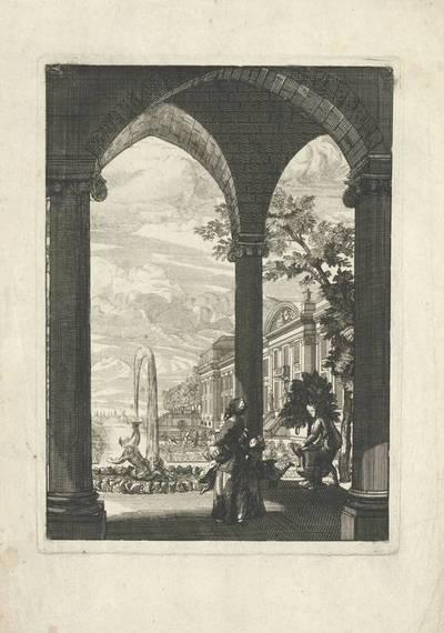 """Architekturansicht, Blatt aus der Folge """"Troisieme Livre de Perspective"""""""