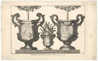 """Drei Blumentöpfe, Titelblatt der Folge """"Nouveaux Livre de Vases et de Pots de Jardins, inv. par D. Marot"""""""