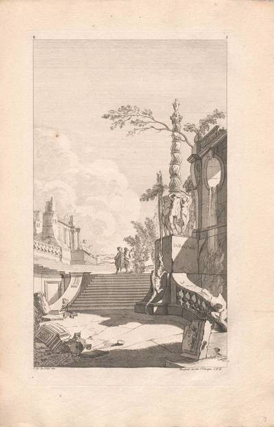 """Architektur mit einem Brunnen und Staffage, Blatt 3 aus der Folge B (Deuxieme Partie) der Folge """"Livre d' Architecture Paisages et Perspective etc."""", herausgegeben von Huquier"""