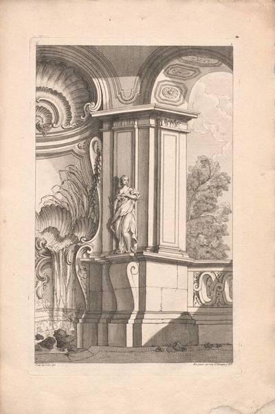 """Architektur mit einem Brunnen, Blatt 2 aus der Folge """"Livre d' Architecture Paisages et Perspective etc.Quatrieme Partie"""", herausgegeben von Huquier"""
