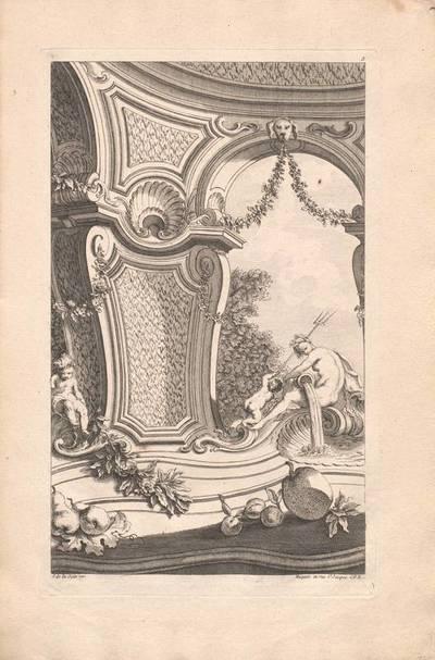"""Architektur mit einem Brunnen, Blatt 5 aus der Folge """"Livre d' Architecture Paisages et Perspective etc.Quatrieme Partie"""", herausgegeben von Huquier"""