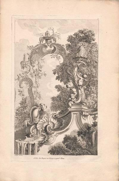"""Ein Brunnen, Blatt 7 aus der Folge """"Livre d' Architecture Paisages et Perspective etc.Quatrieme Partie"""", herausgegeben von Huquier"""