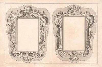 Zwei Kartuschen (Ecrans) mit Rocaille- Bordüren, Blatt aus einer Folge, herausgegeben von Huquier