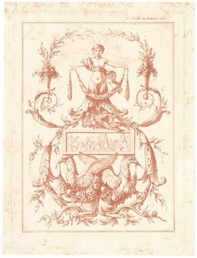 "Grotteske Wandfüllung, Blatt 2 aus der Folge ""Huitieme Cahier des Arabesques"", herausgegeben von Bonnet, Verlagsnummer 678"