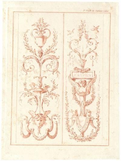 "Grotteske Wandfüllung, Blatt 3 aus der Folge ""Septieme Cahier des Arabesques"", herausgegeben von Bonnet, Verlagsnummer 677"