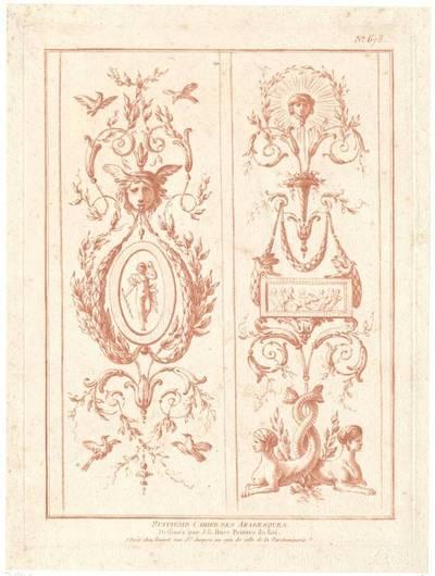 "Grotteske Wandfüllung, Titelblatt der Folge ""Huitieme Cahier des Arabesques"", herausgegeben von Bonnet, Verlagsnummer 678"