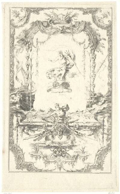 """Wandfüllung mit Neptun, Blatt 5 aus der Folge """"Livre de Portieres"""", Probedruck von der unvollendeten Platte"""