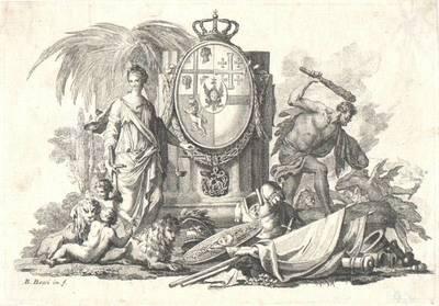 Wappen, links Justitia, rechts Herkules