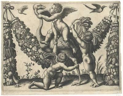 Die drei Kinder mit dem Strauß, nach Raffael (oder Giovanni da Udine), aus einer Folge von vier Tapisserien für den Papst