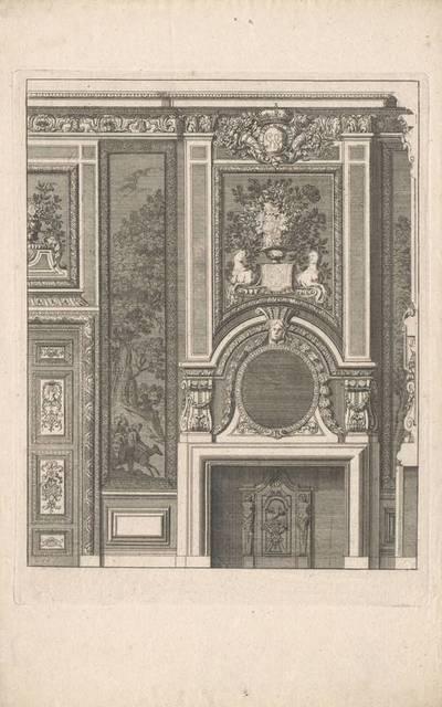"""Ein Kamin, Blatt aus der Folge """"Nouveaux Lievre de Cheminées a la Hollandoise, invente par D. Marot Architecte"""""""