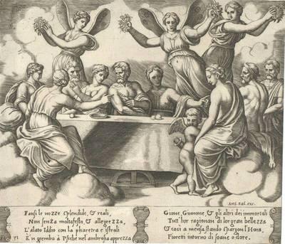 Die Götter feiern die Hochzeit von Psyche und Amor, Blatt 31 aus der Folge der Fabel der Psyche, Abdruck der von Franc. Villamena überarbeiteten Platten, herausgegeben von A. Salamanca; nach Vasari soll Michiel Coxcie die...