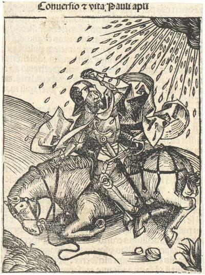 Die Bekehrung des Apostels Paulus. Aus Hartmann Schedel's lateinischer Ausgabe der Weltchronik ausgeschnitten