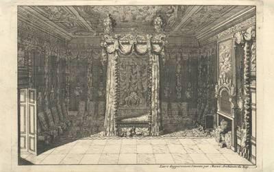 """Image from object titled Ein Schlafzimmer mit Himmelbett, Blatt 1 aus der Folge """"Livre dappartement Inventé par Marot Architecte du Roy"""""""