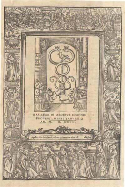 Titeleinfassung mit der Darstellung der Verleumdung der Hermannsschlacht