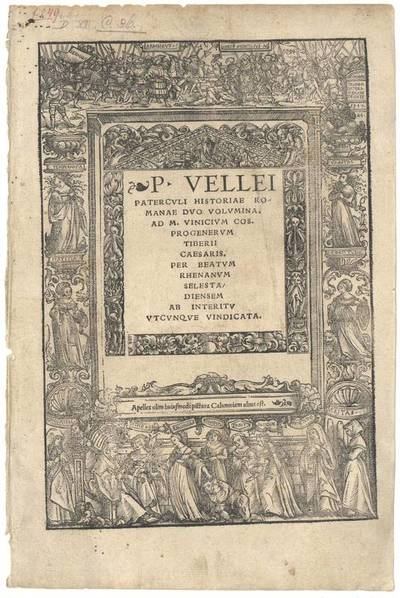 Titeleinfassung mit der Darstellung der Verleumdung und der Hermannsschlacht