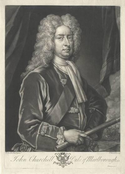 Portrait von John Churchill, Duke of Marlborough, Halbfigur, gestochen von John Faber jun., nach einem Gemälde von Godfrey Kneller