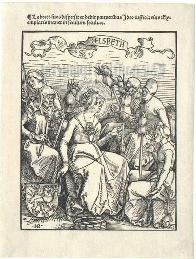 """Die heilige Elisabeth spinnend. Holzschnitt aus """"Die gaistlich spinnerin"""" von Geiler von Kaisersberg, verwendet im Buch """"Das buch Granatapfel"""", 1511, vgl. St. Elisabeth von Hans Burgkmair (B. 28)"""