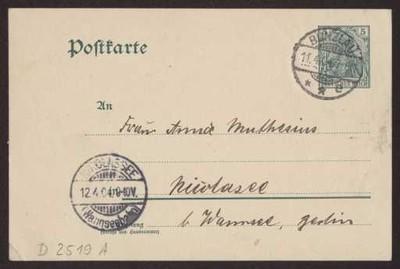 Schreiben an Anna Muthesius (Postkarte)
