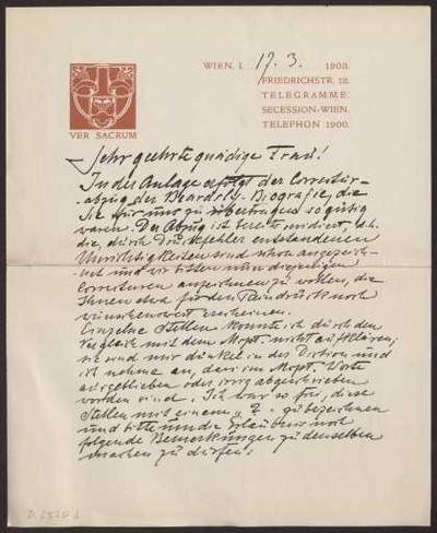 Schreiben an Anna Muthesius (Brief)
