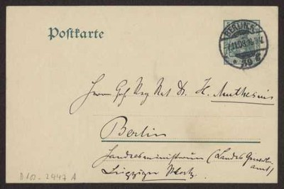 Schreiben an Hermann Muthesius (Postkarte)