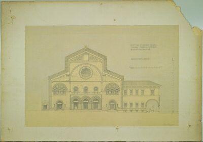 Image from object titled Triest, Synagoge (Wettbewerbsentwurf), vordere Fassade zur Via Crocera, Aufriss