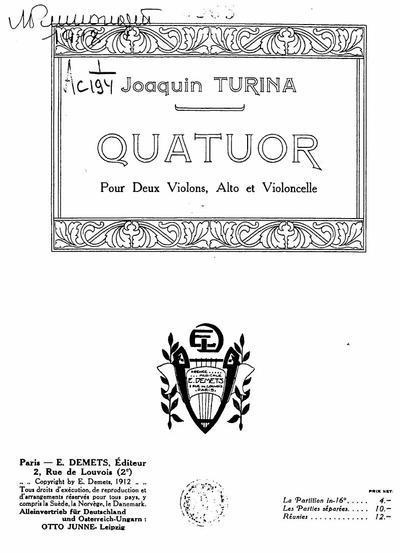 Image from object titled Quatuor pour deux violons, alto et violoncelle