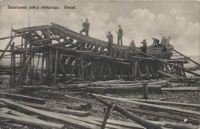 People in Saaremaa building a ship; Saarlased laeva ehitamas