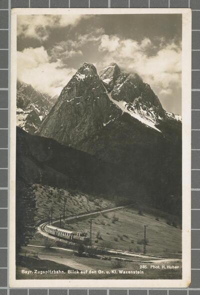 Bayr. Zugspitzbahn. Blick auf den Gr. u. Kl. Waxenstein