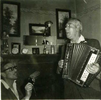 Davie Stewart with Hamish Henderson. Unknown location and date