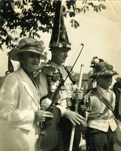 Billy Wells, Douglas Kennedy and Sam Bennett. English Folk Dance Festival, Stratford-upon-Avon, Warwickshire, England, 1947
