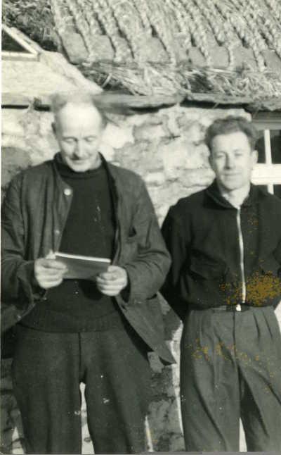 John Sinclair with son John Sinclair. Little Lingall, Flotta, Orkney, Scotland, 1957